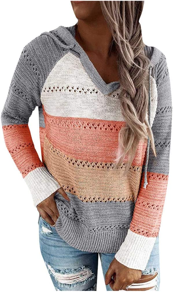 Eoailr Sweatshirt for Women Color Sweaters Selling and service selling Block V Neck Hooded