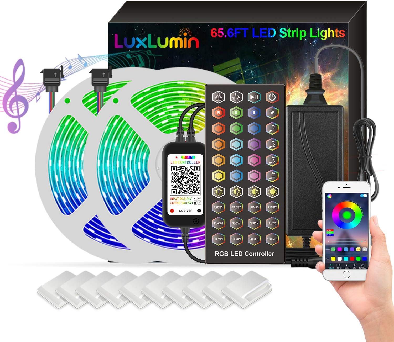 LuxLumin Surprise price LED Strip Award-winning store Lights RGB 65.6ft Bluetooth