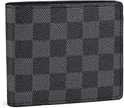 Slim Bifold Checkered Leather Wallet | Classic Minimalist Style | with ID Window/Card Case/Bill Holder | for Men and Women (black)