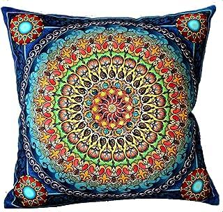 Andreannie European Colorful Retro Floral Bohemian Ethnic Style Moroccan Navy Blue Cotton Linen Home Throw Pillow Case Per...