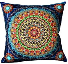 Andreannie European Colorful Retro Floral Bohemian Ethnic Style Moroccan Navy Blue Cotton Linen Home Throw Pillow Case Per...