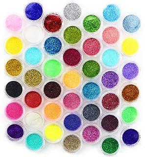 Kuqqi 45 Colors Eyeshadow Nail Art Body Glitter Shimmer Dust Powder Set