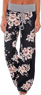 Famulily Women's American Flag Floral Drawstring High Waist Wide Leg Pants
