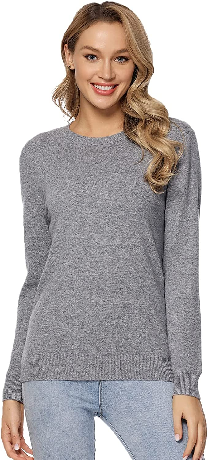 LANPULUX Women's 100% Pure Merino Wool Sweater Long Sleeve Pullover Crew Neck Tops for Woman