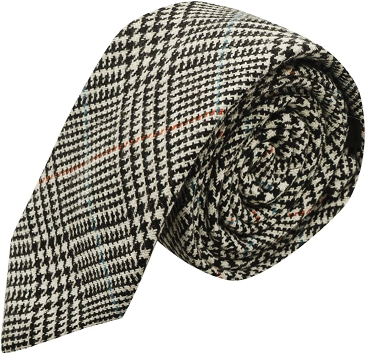 Black White Dogtooth Tweed 5% OFF Necktie Super Special SALE held Check