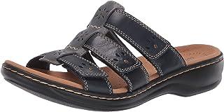 Clarks Women's Leisa Spring Sandal, Navy Multi Leather, 80 N US