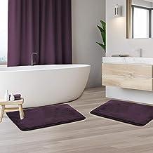 "Clara Clark Memory Foam Bathrug 2 Pack Set - Eggplant - Bath Mat and Shower Rug Small 17"" x 24"" Inches, Non Slip Latex Fre..."
