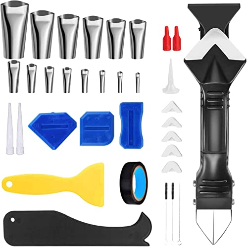 high quality BENBOR Caulking Tool Kit, 35PCS online sale Caulking Silicone Sealant Finishing Tools Reusable Stainless Steel online Caulking Nozzles with 5 Replaceable Silicone Pads for Kitchen Bathroom Window Sink Joint online sale