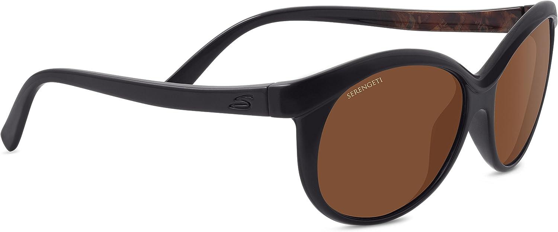 Serengeti 8186 Caterina, Shiny Black Brown Wood Frame, Polarized Drivers Lens