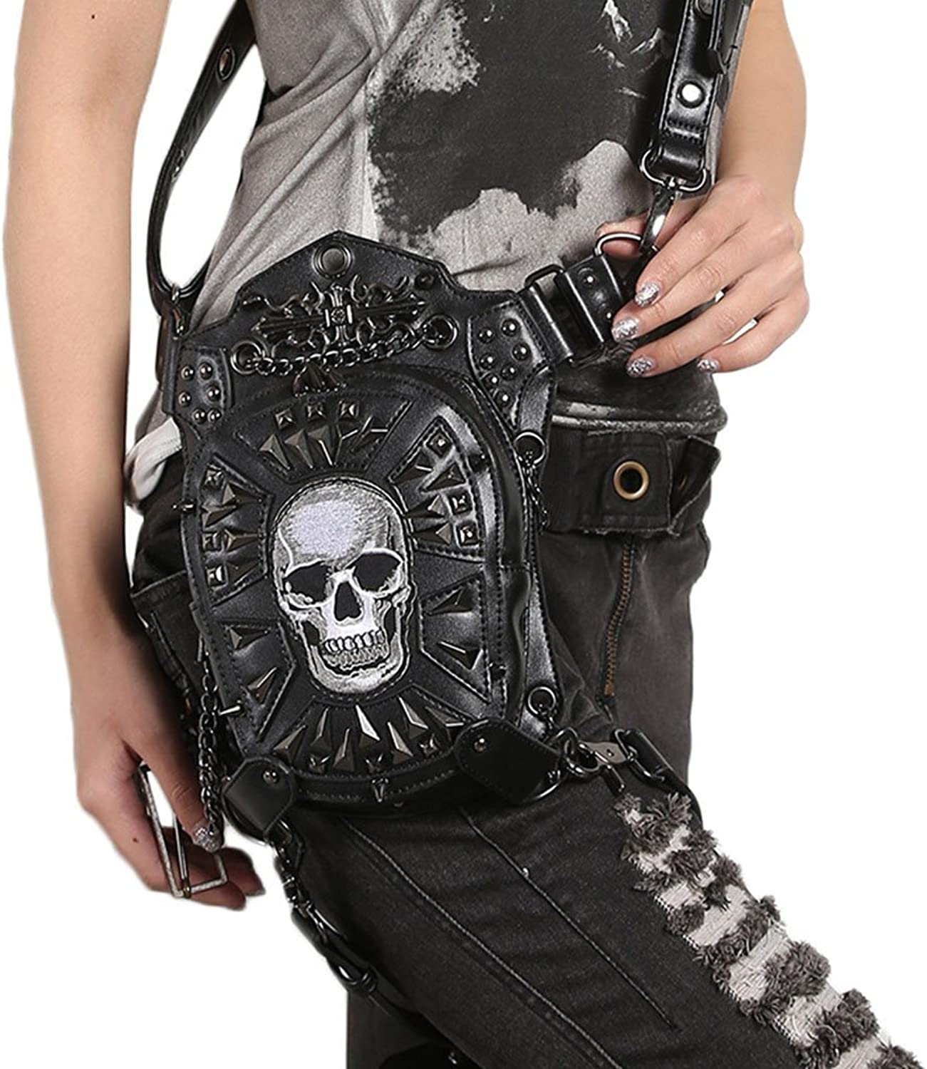 Xdtit Retro Skull Women Steampunk Leg Thigh Bag Black Rock Gothic Shoulder Waist Motorcycle Bag