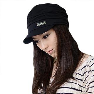 LOCOMO Women Girl Fashion Design Drape Layers Beanie Rib Hat Brim Visor Cap FFH010BLK Black