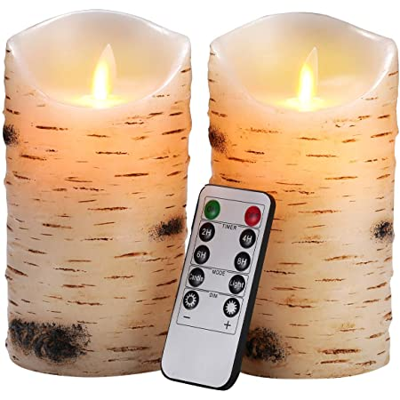 """Flameless Candles LED Candles Birch Bark Effect Set of 2 (D:3.25"""" X H:6"""") Ivory Real Wax Pillar Battery Operated Candles with Dancing LED Flame 10-Key Remote and Cycling 24 Hours Timerame Timer"""