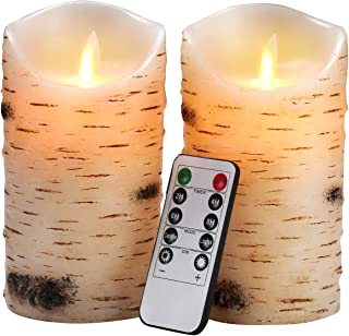 """Flameless Candles LED Candles Birch Bark Effect Set of 2 (D:3.25"""" X H:6"""") Ivory Real Wax Pillar Battery Operated Candles w..."""
