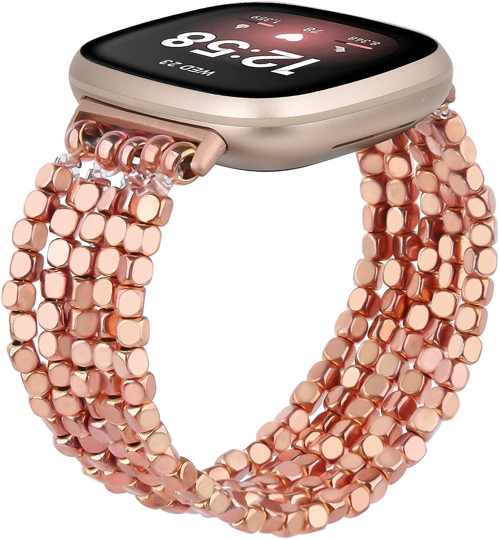 MOFREE Compatible for Fitbit Versa 3/Fitbit Sense Band Beaded Bracelet Women Men Fashion Handmade Elastic Stretch Strap Compatible for Fitbit Sense/Versa 3 Bands Replacement Rose Gold