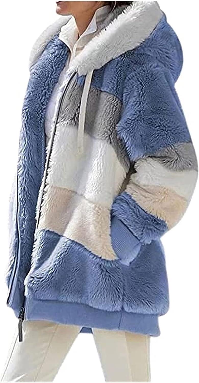CRGSM Women Casual Fuzzy Fleece Hooded Cardigan Pocket Faux Fur Outerwear Coat
