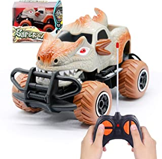 Dinosaur Rc Cars Remote Control Car for Kids,Monster Trucks Remote Control Toys for 3-4 Year Old Boys Dinosaur Toy Birthday Gift(Gray)