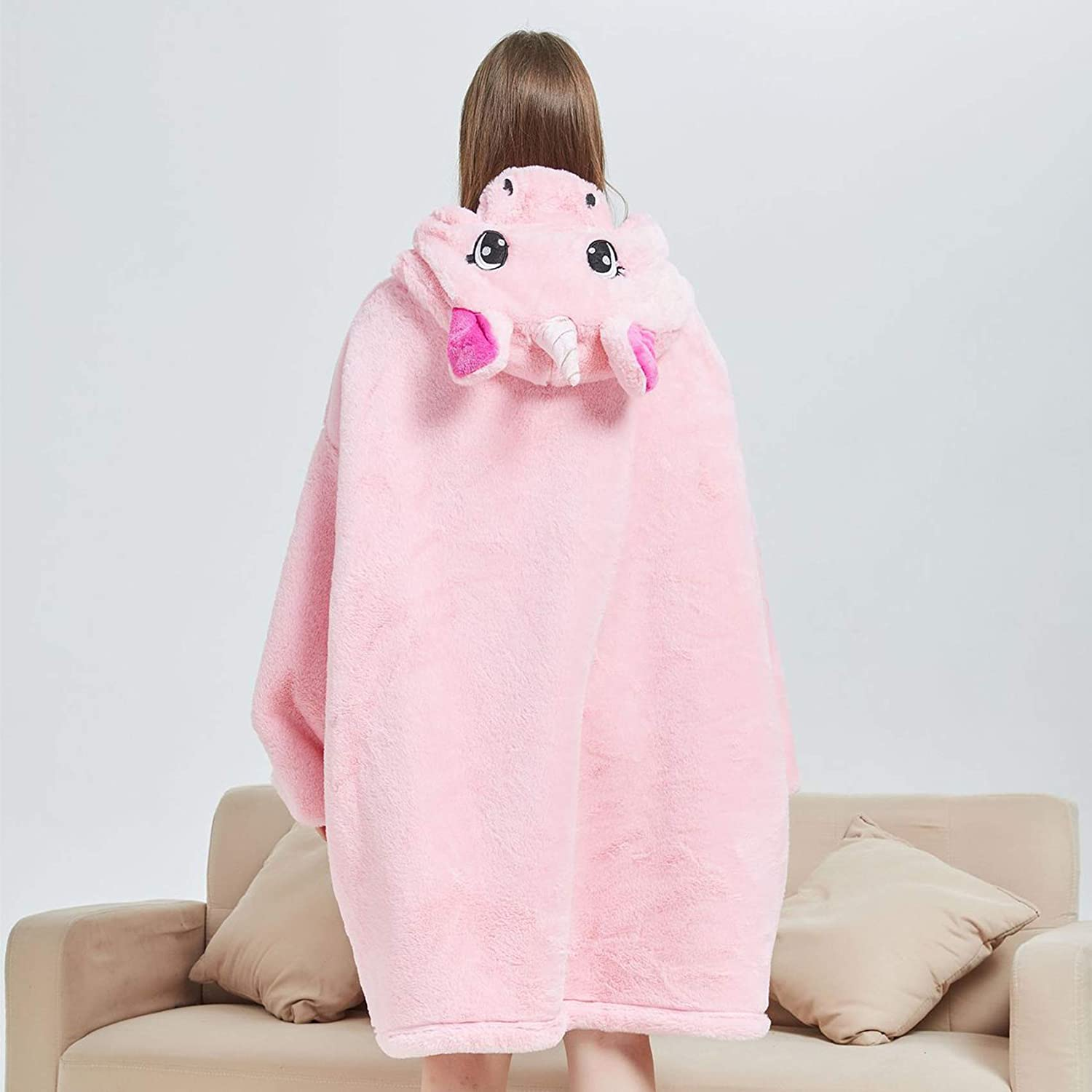 Wearable Sherpa Blanket with Animal Hood TV Blanket IvyH Oversized Hoodie Blanket