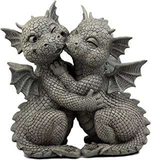 Ebros Gift Fiery Romance Hatchling Dragon Lovers Garden Statue Faux Stone Resin Finish..