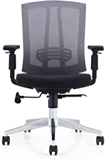 GM Seating Hampton Lota Mid-Back Work Chair with Mesh Back and Polished Aluminum Base for Office or Computer Desk, Black
