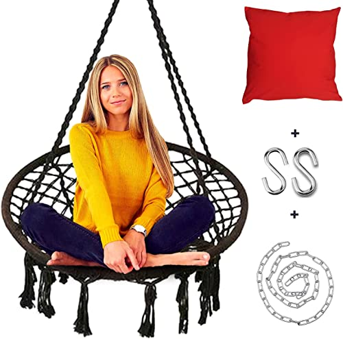 Round jhula for Adults with Hanging Chain Hooks Pillow 5 Years Swings for Balcony Jute Swing for Home for Adults Zula for Balcony Adult Swings Large Dark Black