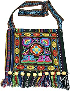 VALICLUD Chic Oriental National Style Embroidered Bag Striped Cloth Embroidery Shoulder Diagonal Tassel Bag - Red Camellia...