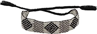 El Allure Grey and Black Preciosa Jablonex Seed Bead Native American Style Inspired Seed Beaded Bracelet Geometric Patterned Handmade Delicate Costume Fashion Unique Bracelet for Women