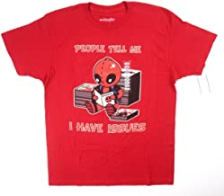 We Love Fine Mens Deadpool I Have Issues Graphic T-Shirt Red L