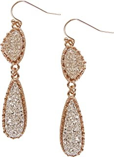 Humble Chic Simulated Druzy Drop Dangles - Gold-Tone Long Double Teardrop Dangly Earrings for
