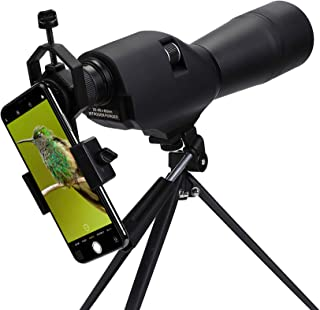 Pinty 20-60x60 Waterproof Straight Spotting Scope with Tripod, Optics Zoom 36-19m/1000m for Target Shooting Bird Watching ...