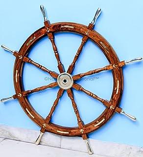 Nagina International Nautical Premium Sailor's Hand Crafted Brass & Wooden Ship Wheel | Luxury Gift Decor | Boat Collectib...