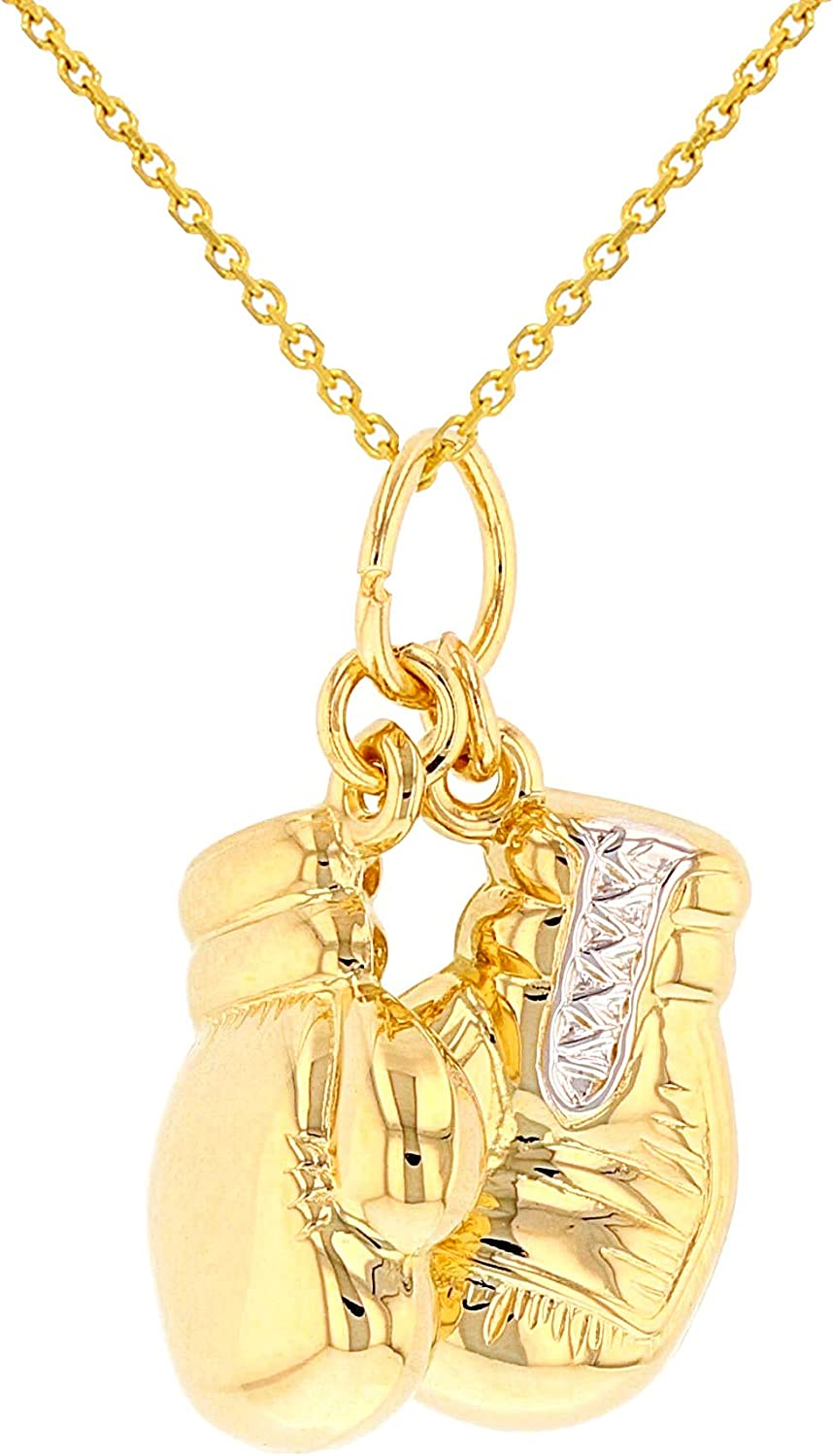 High Polish 14k Yellow Gold 3D Boxing Gloves Charm Sports Pendant Necklace