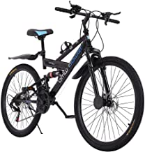 Outroad Mountain Bike 26 inch 21 Speed Bicycle Full Suspension MTB Youth and Adult Bicycle Bike High Carbon Steel Trail Mountain Bike US Shipment