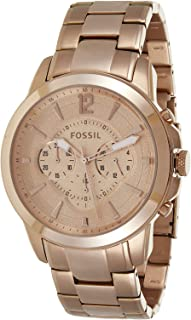 Fossil Men'S Rose Gold Dial Stainless Steel Band Watch Fs4635