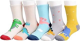 Calcetines para niño, 5 pares de calcetines de algodón con diseño de dinosaurios, para niñas, 1 – 11 años