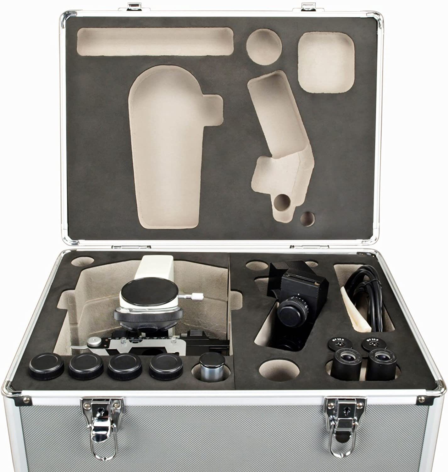 40X2000X Trinocular Compound Replaceable LED Microscope with Aluminum Carrying Case