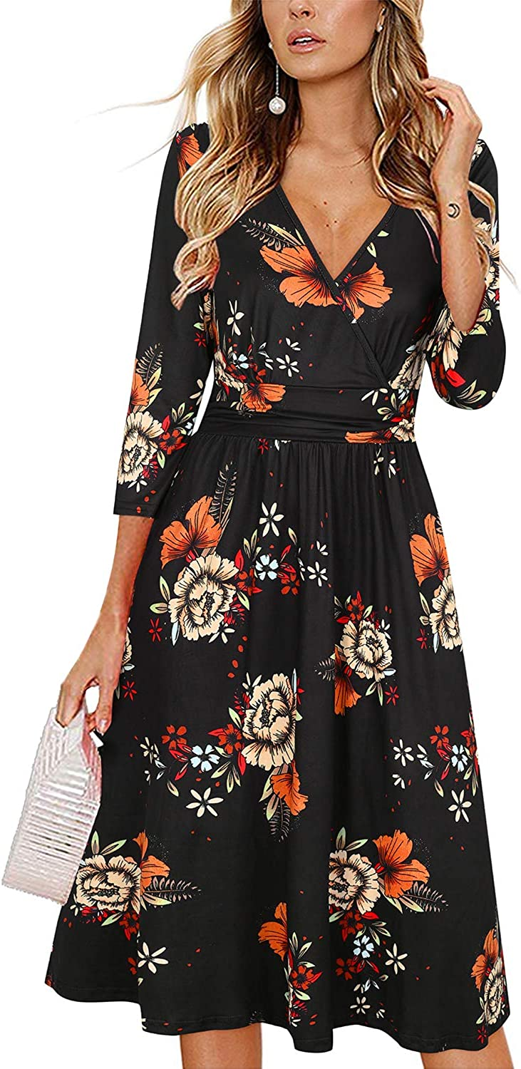 Newshows Women's 3/4 Sleeve V Neck Casual Faux Wrap Party Midi Dress with Pockets