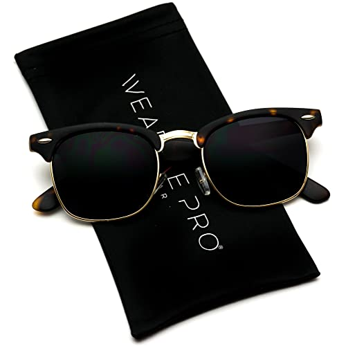 1bde5e9e9ed Retro Classic Metal Half Frame Horn Rimmed Sunglasses