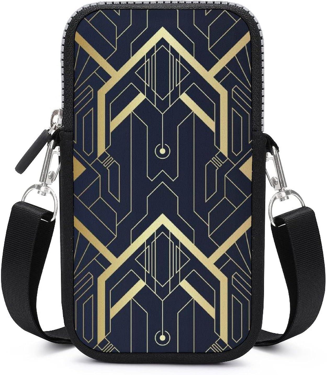 SWEET TANG Abstract Art Seamless Blue and Golden Phone Riding Multipurpose Handbag - Passport, Credit Card Adjustable Shoulder Strap, Holder Wristlet Convertible Cross Body Bag