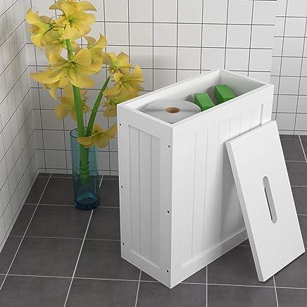 woodluv Shaker Slimline Wooden Multi-Purpose Bathroom Storage Unit,White