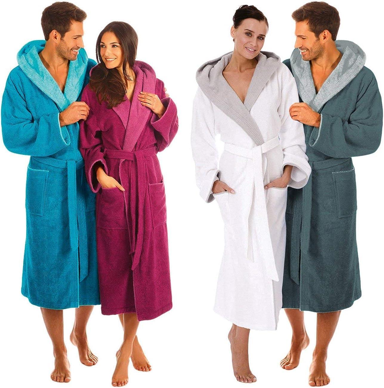 Egeria Cairo 2 Bathrobe Saunarobe with Hood for Women & Men by Eliwareexclusive with New Sizes Dark Grey/Light Grey