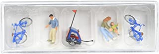 Preiser 10635 Family Getting Ready for Bicycle Ride Mother, Father, Toddler, 2 Bikes & Baby Trailer HO Model Figure