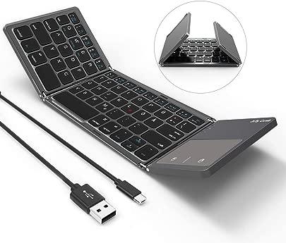 Jelly Comb Bluetooth Tastatur mit Touchpad Faltbare Ultra-D nne Dual-Modus Wired und Bluetooth Tastatur QWERTZ Layout Grau Schätzpreis : 29,99 €