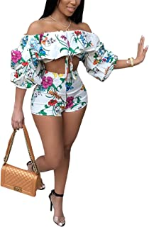 Womens Sexy 2 Pieces Off Shoulder Outfits Bodycon Wrapped Crop Top Pants Club Shorts