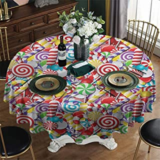 KFUTMD Printed Round Tablecloth Christmas Candy Cane Bonbons Lollipops Sugary Treats Sweeties Colorful Pile for Festive Occasions Multicolor Burlap Table Cloth Diameter 70