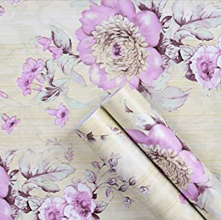 UPREDO Retro Style Blooming Purple Flower Wallpaper Peel Stick Shelf Liner Funitures Dresser Drawer Cabinet Paper Decor 17.7 Inch by 100 Inch