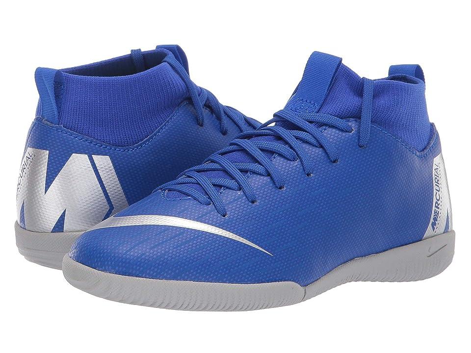 Nike Kids SuperflyX 6 Academy IC Soccer (Little Kid/Big Kid) (Racer Blue/Metallic Silver/Black/Volt) Kids Shoes