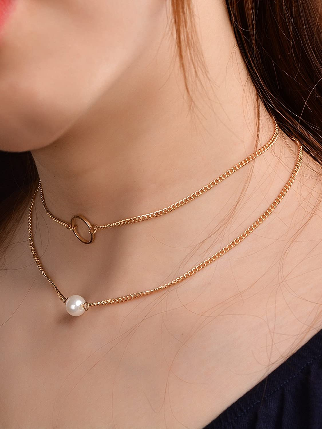 Frodete Two Layer Necklaces for Women Minimalist Circle Bead Pearl Double Chain Pendant Necklace Necklace Gold Gift Jewelry