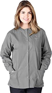 Natural Uniforms Women's Warm Up Jacket Medical Scrub Jacket (XS to 5XL) (Small, Gray)