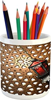Ambesonne Lantern Pencil Pen Holder, Egyptian Fanoos in a 3D Style Realistic Illustration Moroccan Backdrop Design, Printed Ceramic Pencil Pen Holder for Desk Office Accessory, Umber Red Grey