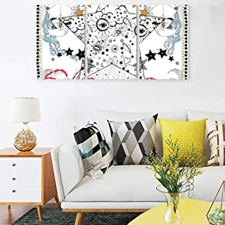 WEIFLY Ethnic Style Art Star Printing Wall Art Picture 12x16 inch/Piece 3Piece Bohemia Modern Simple Canvas Wall Artworks